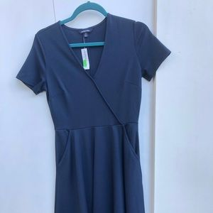 Classic Navy Crossover Dress